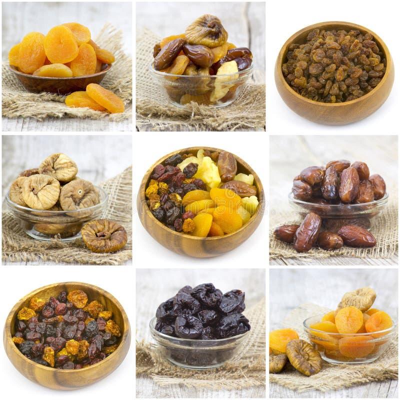 Ξηρό - συλλογή φρούτων - κολάζ στοκ φωτογραφία