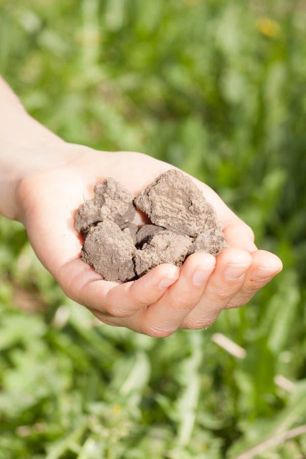 Ξηρό χώμα υπό εξέταση στοκ εικόνα με δικαίωμα ελεύθερης χρήσης