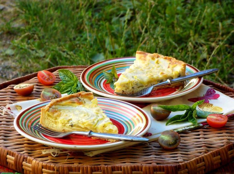 Ξινός με τα κολοκύθια, το πράσο και το τυρί στο αγροτικό υπόβαθρο πίτα στοκ εικόνα