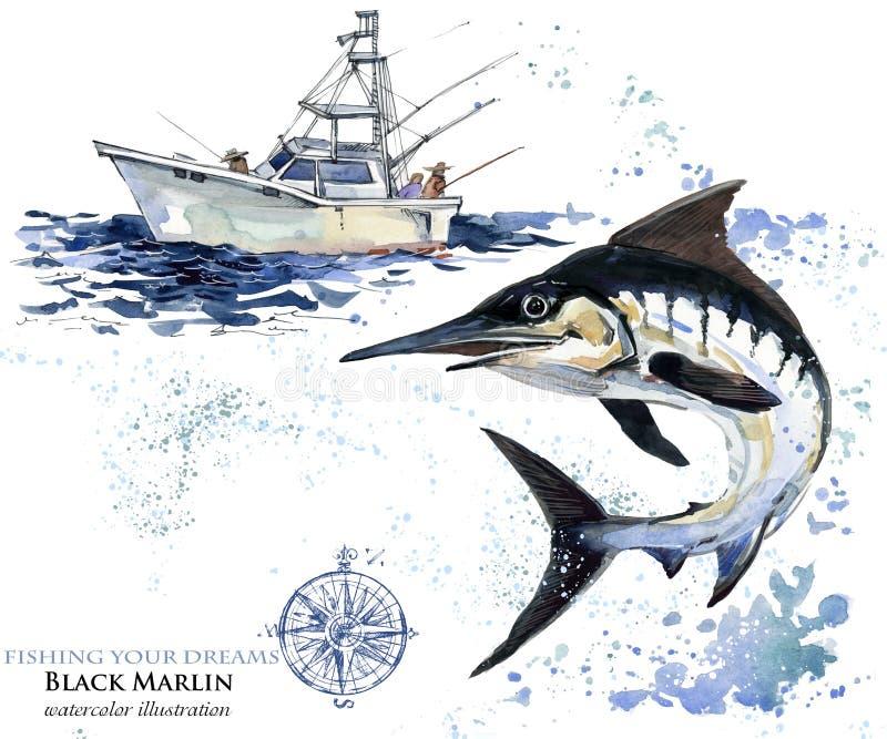 ξιφίες απεικόνιση μαρλίν watercolor απεικόνιση αποθεμάτων