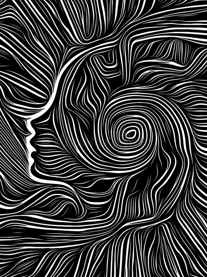 Ξυλογραφία δίνης εγκεφάλου διανυσματική απεικόνιση