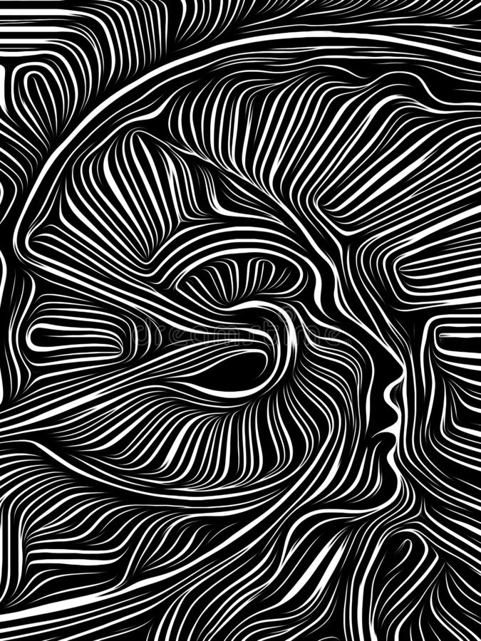 Ξυλογραφία δίνης μυαλού διανυσματική απεικόνιση