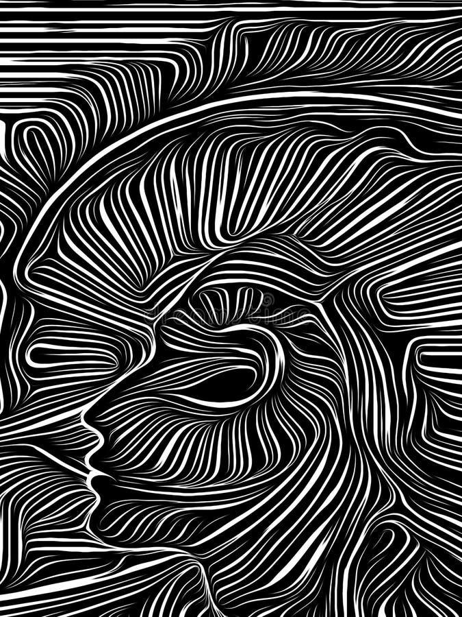 Ξυλογραφία δίνης μυαλού απεικόνιση αποθεμάτων