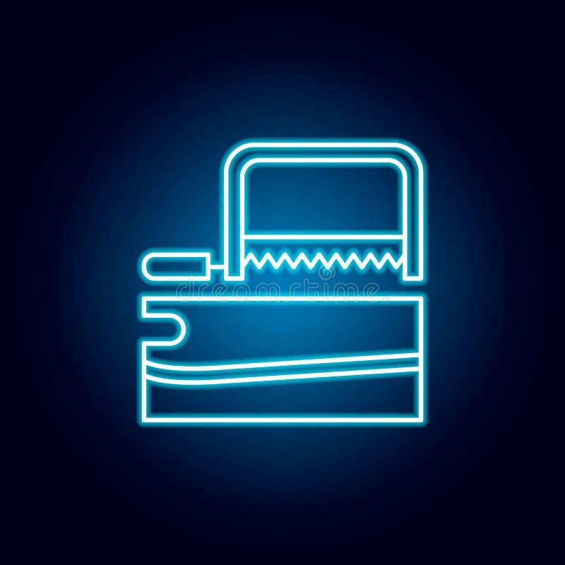 ξυλουργική, πριόνι, εικονίδιο περιλήψεων επισκευής στο ύφος νέου στοιχεία του εικονιδίου γραμμών απεικόνισης εκπαίδευσης τα σημάδ απεικόνιση αποθεμάτων