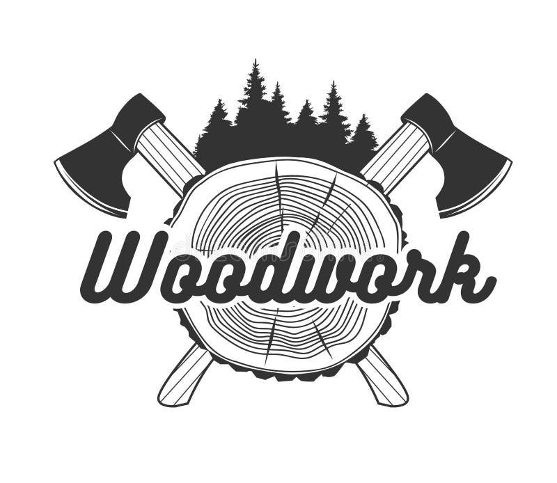 ξυλουργική Πρότυπο λογότυπων διανυσματική απεικόνιση