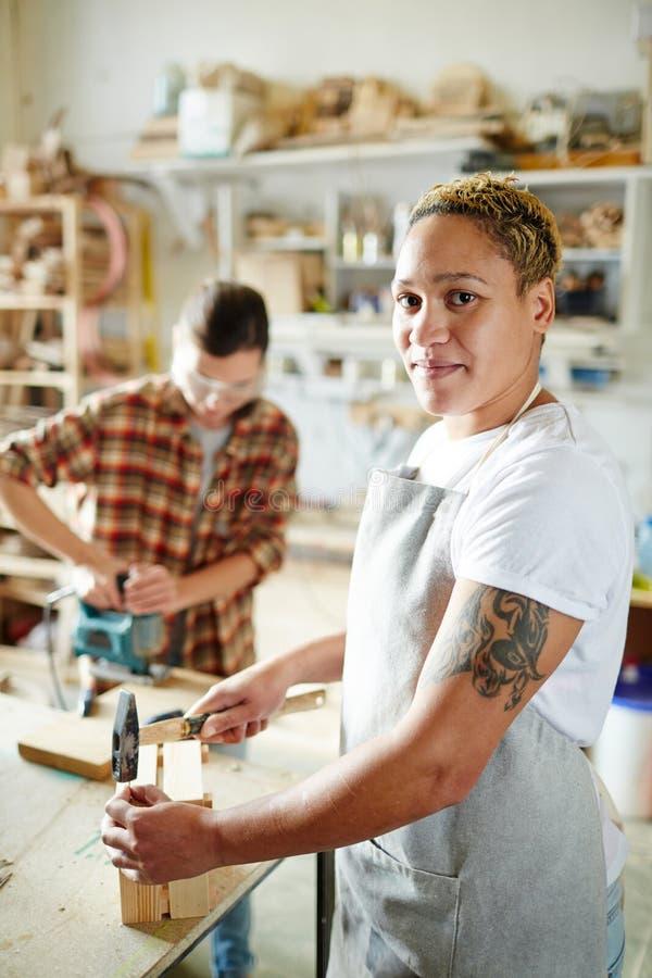 Ξυλουργός που κατασκευάζει το ξύλινο κιβώτιο στοκ εικόνες με δικαίωμα ελεύθερης χρήσης
