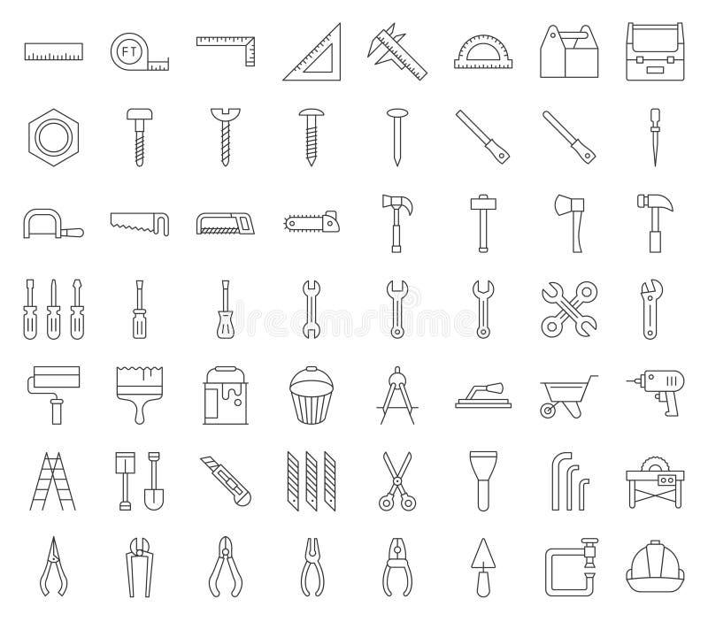 Ξυλουργός, handyman εργαλείο και σύνολο εικονιδίων εξοπλισμού, σχέδιο περιλήψεων ελεύθερη απεικόνιση δικαιώματος