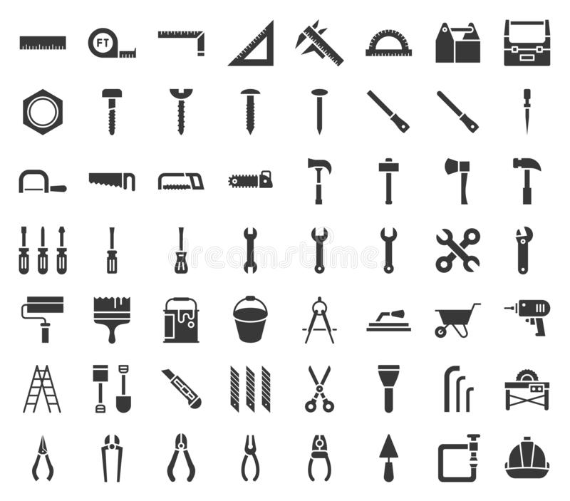 Ξυλουργός, handyman εργαλείο και σύνολο εικονιδίων εξοπλισμού, glyph σχέδιο διανυσματική απεικόνιση