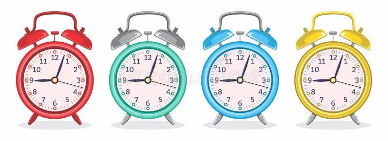 Ξυπνητήρι μετάλλων με τη διανυσματική απεικόνιση διάφορων χρωμάτων απεικόνιση αποθεμάτων