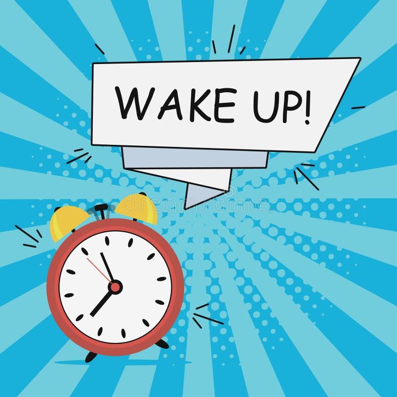 Ξυπνητήρι - ξυπνήστε Απεικόνιση Comics στο λαϊκό ύφος τέχνης στο υπόβαθρο ηλιοφάνειας με το ημίτονο έμβλημα επίδρασης και ομιλίας ελεύθερη απεικόνιση δικαιώματος