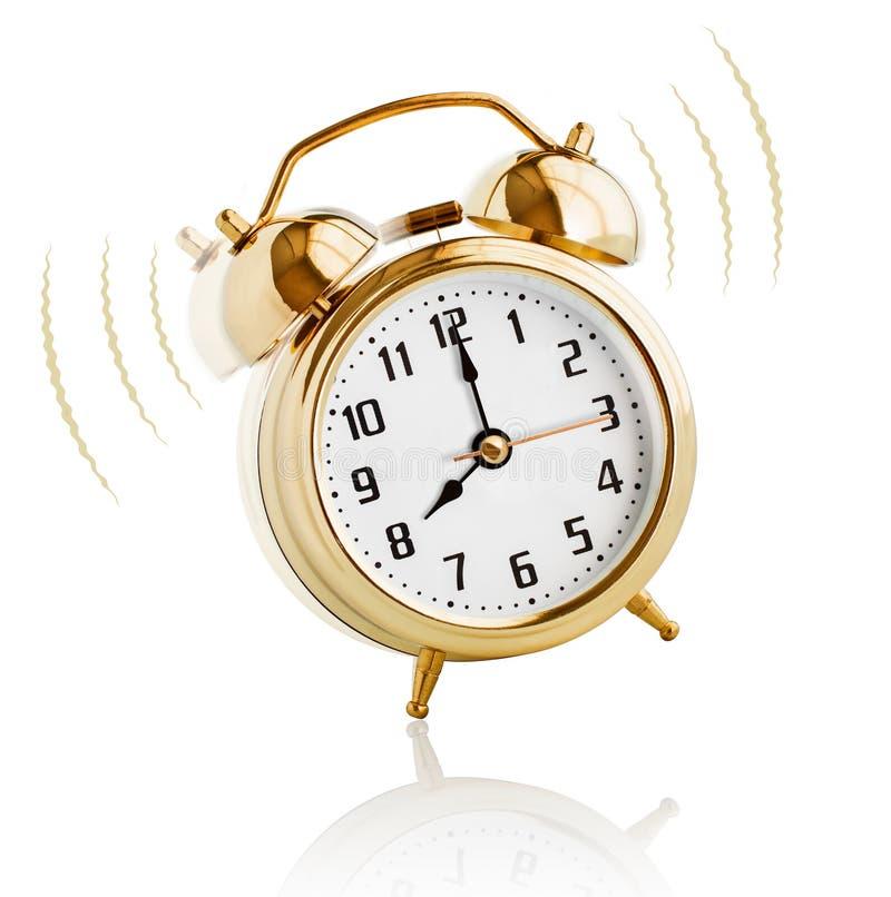 Ξυπνητήρι που χτυπά στο πρωί 8 η ώρα στοκ εικόνα με δικαίωμα ελεύθερης χρήσης