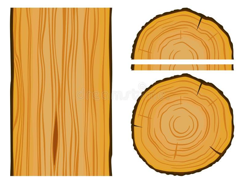 Ξυλεία και ξύλινη σύσταση με τα στοιχεία διανυσματική απεικόνιση