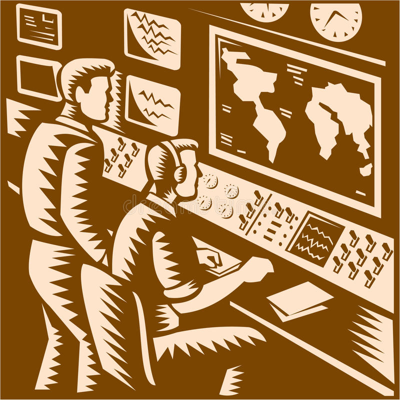 Ξυλογραφία έδρας Κέντρων Εντολών θαλάμου ελέγχου διανυσματική απεικόνιση