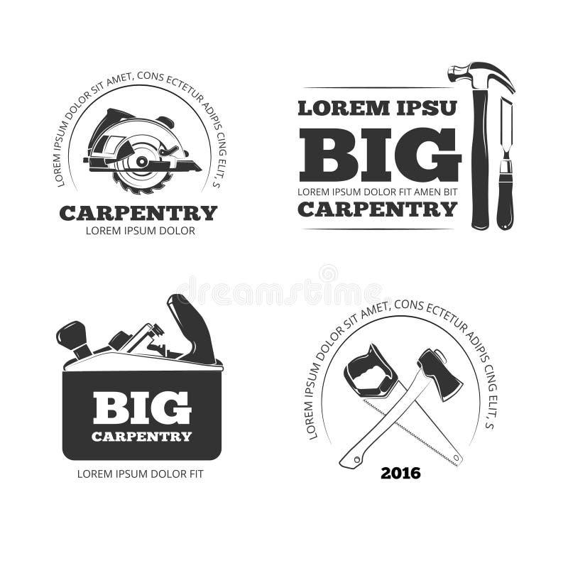 Ξυλουργική, διανυσματικά ετικέτες εργαστηρίων, λογότυπα, διακριτικά και εμβλήματα με τα εργαλεία ξυλουργικής απεικόνιση αποθεμάτων