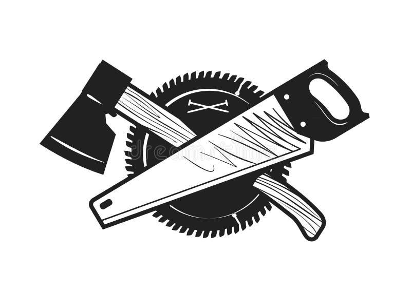 Ξυλουργική, joinery, λογότυπο ξυλουργικής ή εικονίδιο επίσης corel σύρετε το διάνυσμα απεικόνισης ελεύθερη απεικόνιση δικαιώματος