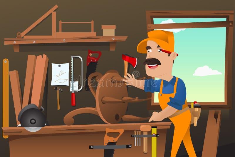 Ξυλουργός που εργάζεται κάνοντας μια καρέκλα απεικόνιση αποθεμάτων