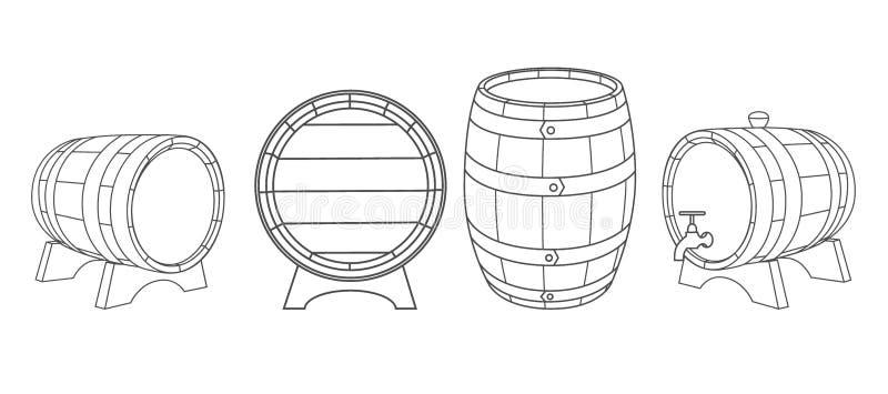 Ξύλινα βαρέλια διανύσματος διανυσματική απεικόνιση