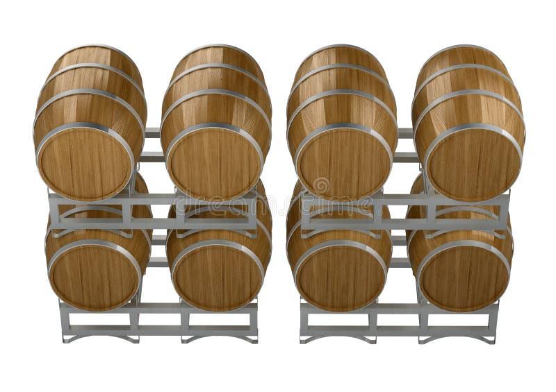 Ξύλινα βαρέλια κρασιού ομάδας απεικόνιση αποθεμάτων