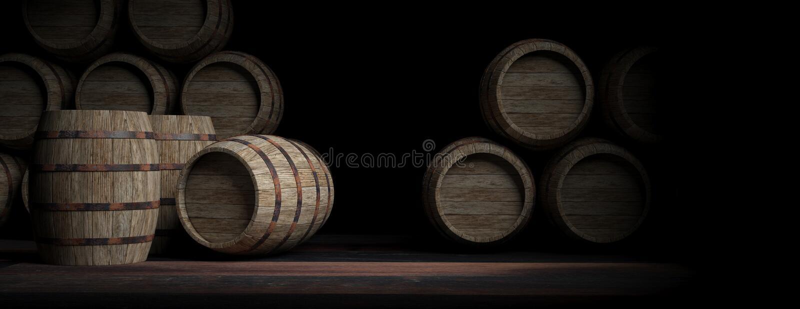 Ξύλινα βαρέλια στο σκοτεινό υπόβαθρο τρισδιάστατη απεικόνιση διανυσματική απεικόνιση