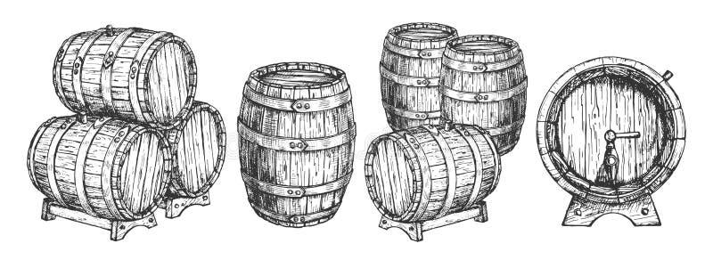 Ξύλινα βαρέλι ή βαρέλια κρασιού μπύρας καθορισμένο διανυσματική απεικόνιση