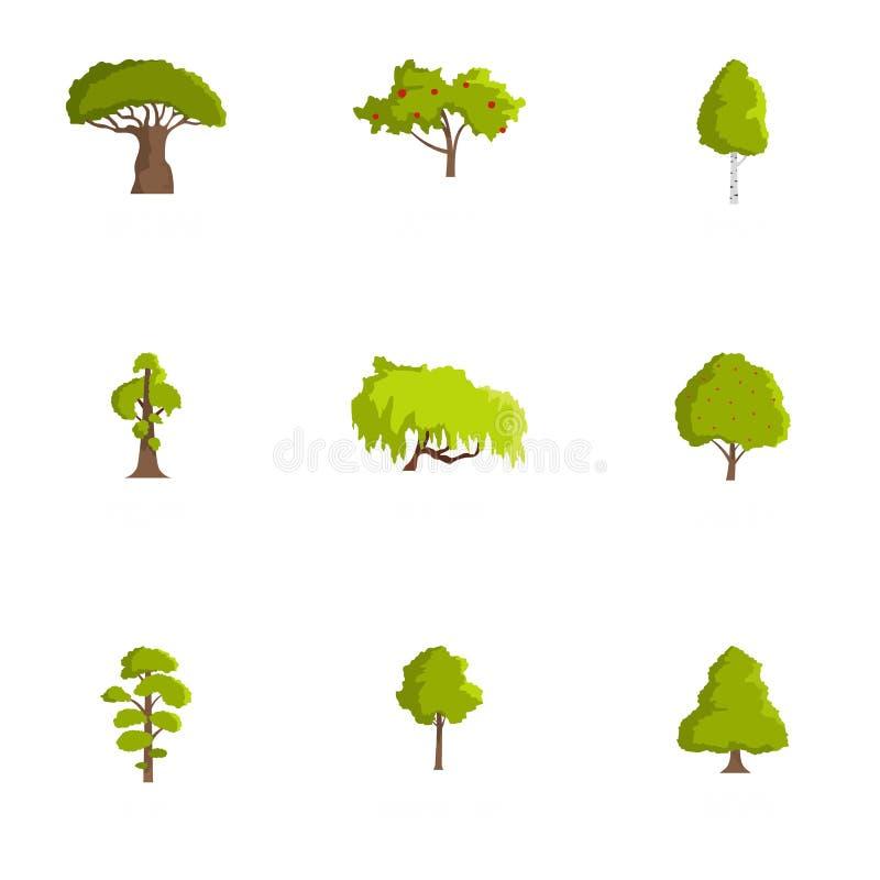 Ξύλινα εικονίδια καθορισμένα, ύφος κινούμενων σχεδίων διανυσματική απεικόνιση