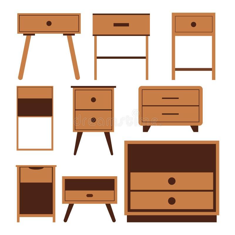 Ξύλινα εικονίδια πλευρών nightstand καθορισμένα, επίπεδη απεικόνιση σχεδίου ελεύθερη απεικόνιση δικαιώματος