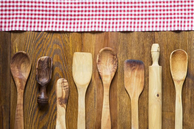 Ξύλινα εργαλεία κουζινών στοκ φωτογραφίες με δικαίωμα ελεύθερης χρήσης