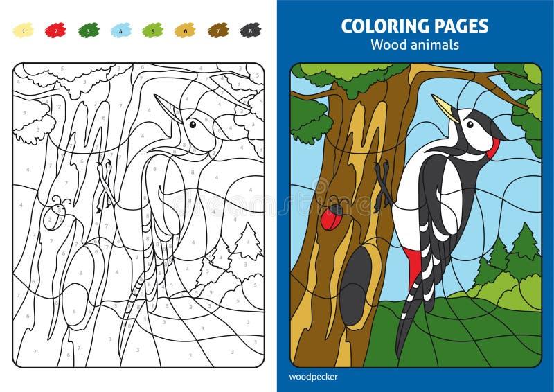 Ξύλινα ζώα που χρωματίζουν τη σελίδα για τα παιδιά, δρυοκολάπτης στο δάσος ελεύθερη απεικόνιση δικαιώματος