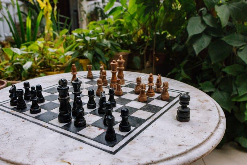 Ξύλινα κομμάτια σκακιού εν πλω στο patio με τις πράσινες εγκαταστάσεις Πίνακας σκακιού στον κήπο Υπαίθρια σκακιέρα πετρών με τους στοκ φωτογραφία με δικαίωμα ελεύθερης χρήσης