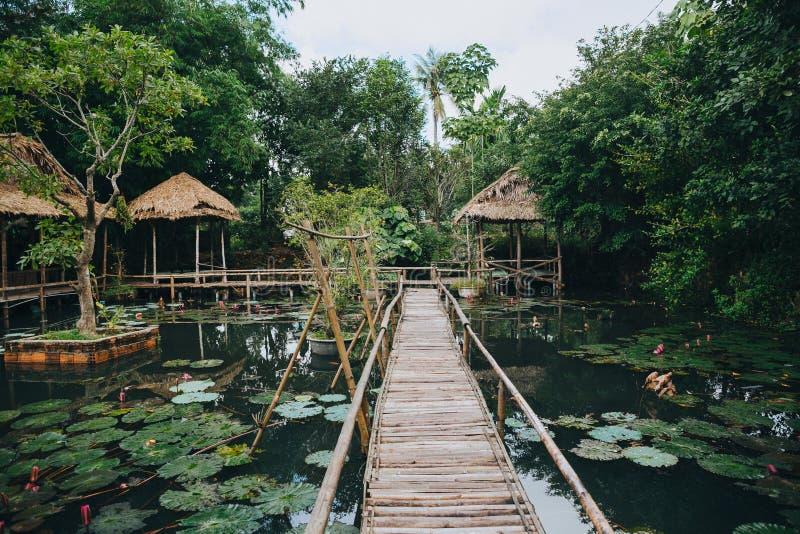 ξύλινα λουλούδια γεφυρών για πεζούς και λωτού στη λίμνη στο όμορφο πάρκο, στοκ εικόνες
