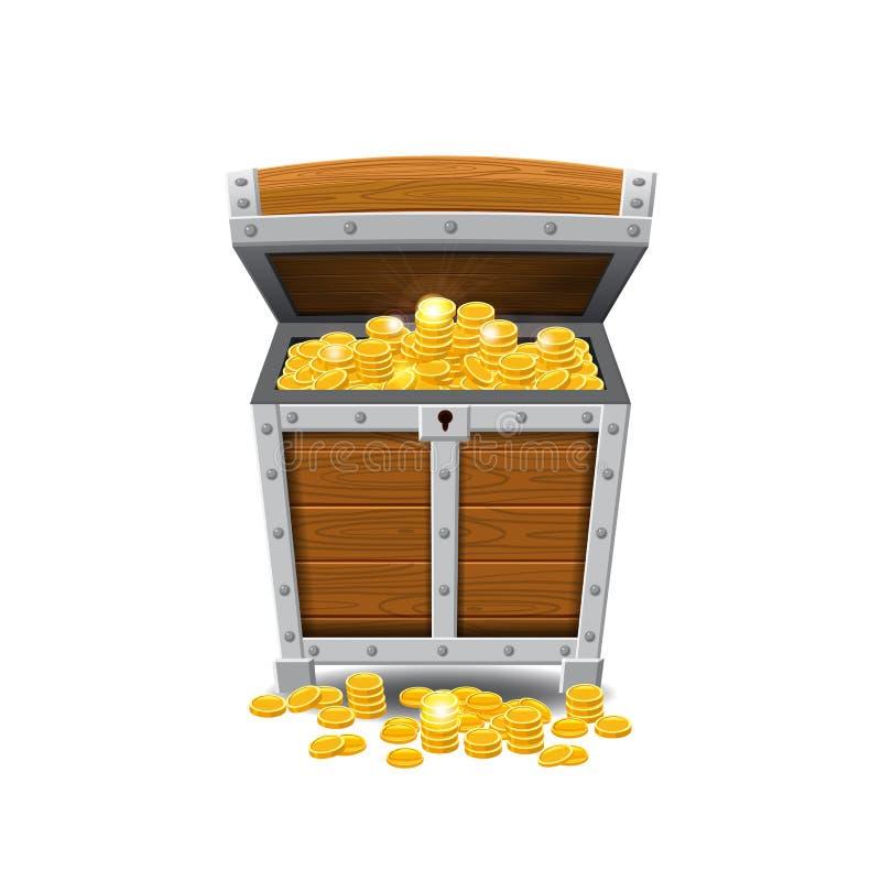 Ξύλινα παλαιά στήθη πειρατών, πλήρη των θησαυρών, χρυσά νομίσματα, θησαυροί, διάνυσμα, ύφος κινούμενων σχεδίων, απεικόνιση, που α ελεύθερη απεικόνιση δικαιώματος
