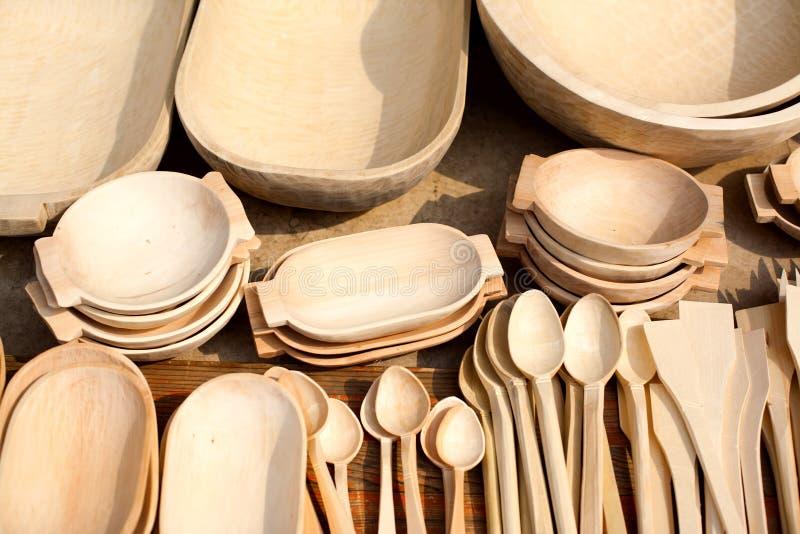 Ξύλινα πιάτα στοκ φωτογραφία