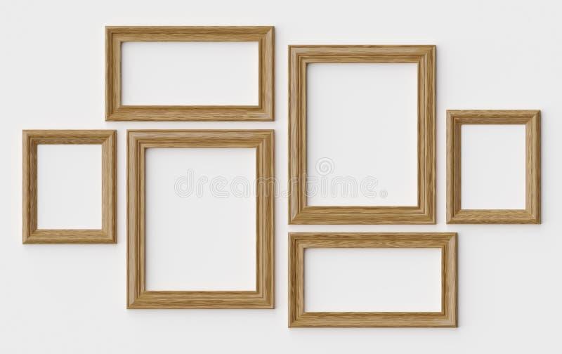 Ξύλινα πλαίσια εικόνων ή φωτογραφιών στον άσπρο τοίχο με τις σκιές διανυσματική απεικόνιση
