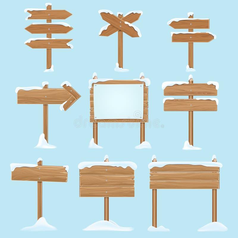 Ξύλινα σημάδια κινούμενων σχεδίων με το χιόνι Διανυσματικά στοιχεία χειμερινών διακοπών Χριστουγέννων διανυσματική απεικόνιση