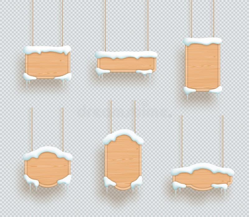 Ξύλινα σημαδιών πλαίσια πινάκων χειμερινού χιονιού τρισδιάστατα κρεμώντας καθορισμένα ελεύθερη απεικόνιση δικαιώματος