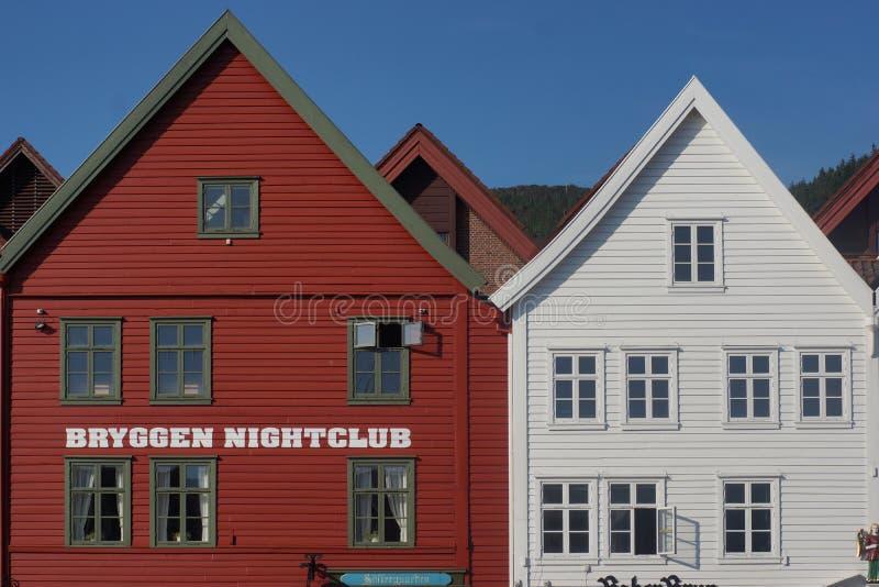 Ξύλινα σπίτια, μέρος ενός παλαιού κτηρίου στο Μπέργκεν στη Νορβηγία στοκ φωτογραφία