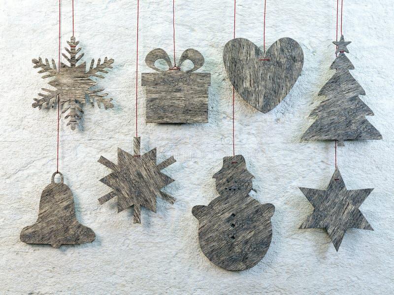 Ξύλινα χριστουγεννιάτικα σχήματα στοκ εικόνα με δικαίωμα ελεύθερης χρήσης