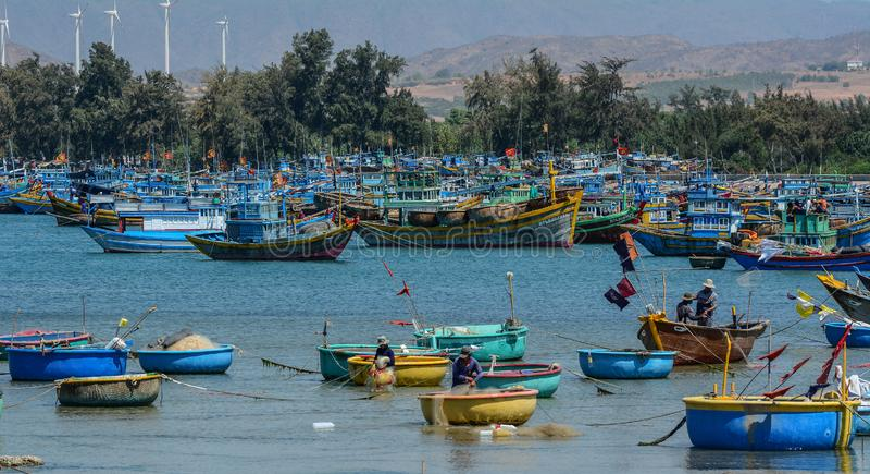 Ξύλινες βάρκες στην αλιεία της αποβάθρας στοκ εικόνα