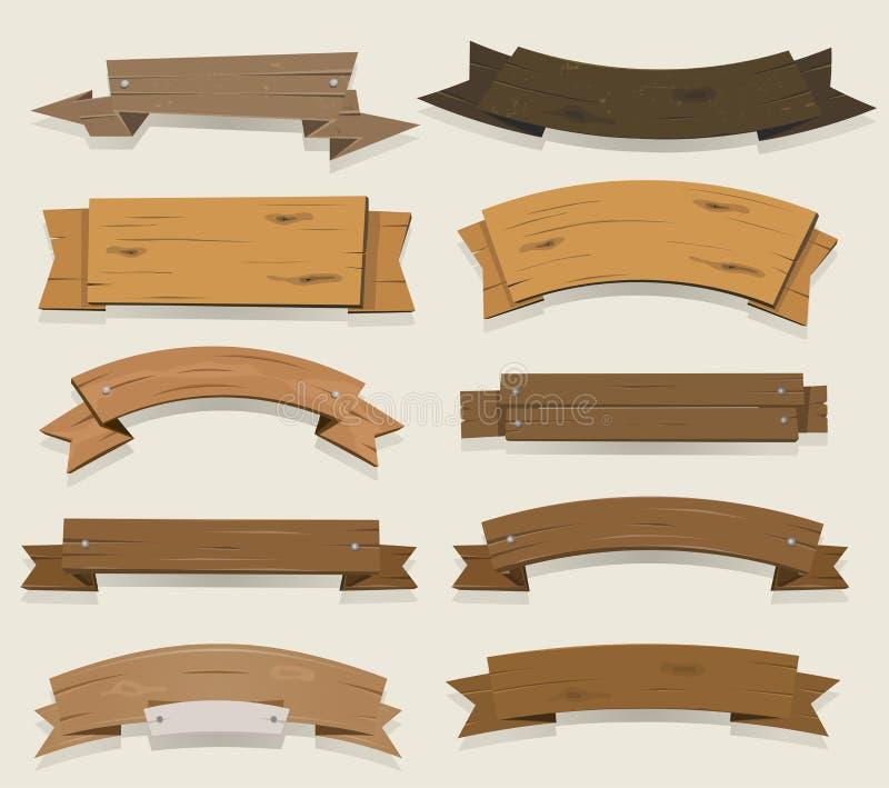Ξύλινες εμβλήματα και κορδέλλες κινούμενων σχεδίων διανυσματική απεικόνιση