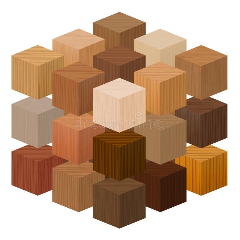 Ξύλινες κύβων συστάσεις δειγμάτων κύβων ξύλινες διανυσματική απεικόνιση