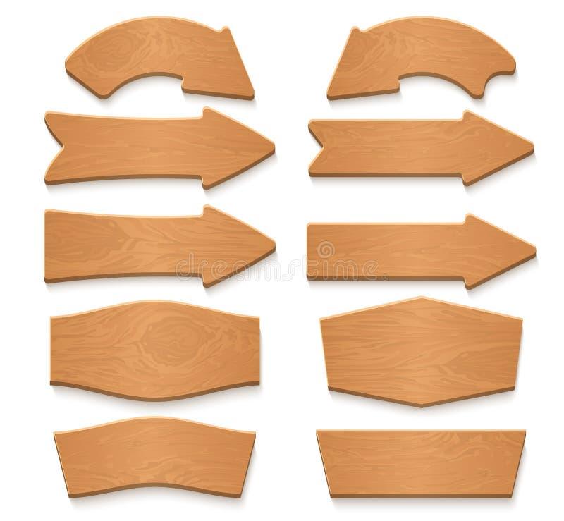 Ξύλινες πινακίδες βελών και ξύλινη συλλογή κινούμενων σχεδίων εμβλημάτων διανυσματική απεικόνιση αποθεμάτων