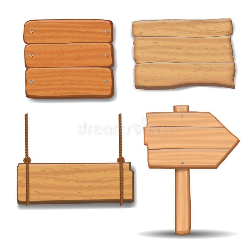 Ξύλινες πινακίδες, διανυσματικό ξύλινο σύνολο πινάκων διαφημίσεων σημαδιών βελών διανυσματική απεικόνιση