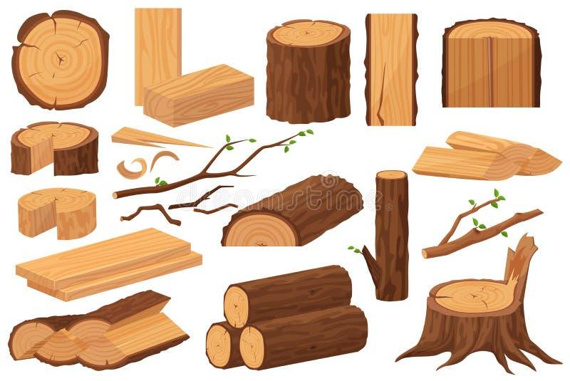 Ξύλινες πρώτες ύλες βιομηχανίας Ρεαλιστική συλλογή δειγμάτων παραγωγής Κορμός δέντρων, κούτσουρα, κορμοί, σανίδες ξυλουργικής, κο διανυσματική απεικόνιση