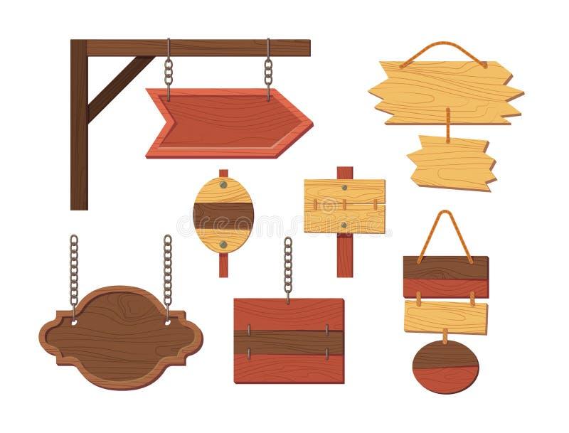 Ξύλινες σανίδες ή πινακίδες πινάκων σημαδιών κενές κενές απεικόνιση αποθεμάτων