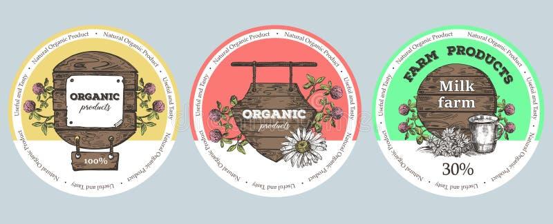 Ξύλινες σημάδι, wildflowers και κούπα μετάλλων Απεικόνιση ύφους σκίτσων Κατάλληλος για το σχέδιο των φυσικών προϊόντων r διανυσματική απεικόνιση