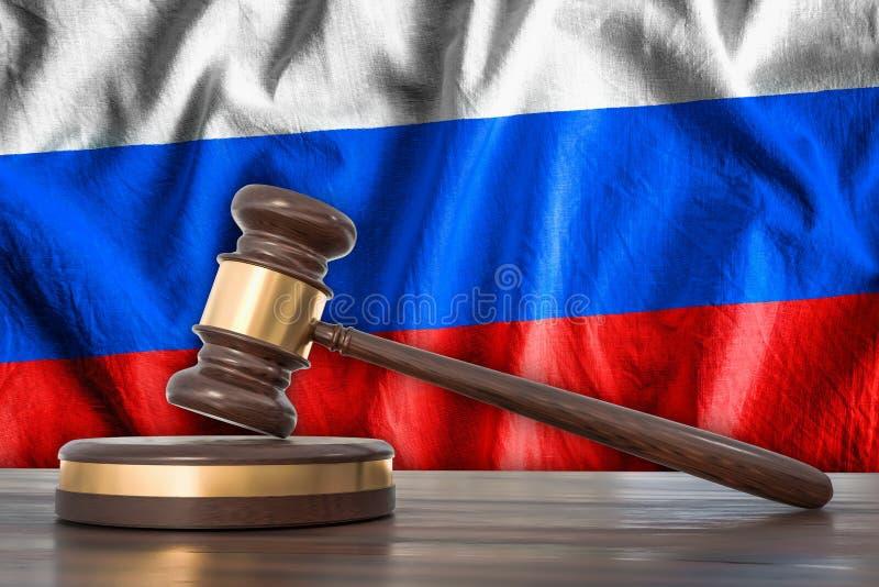 Ξύλινες gavel και σημαία της Ρωσίας στο υπόβαθρο - έννοια νόμου ελεύθερη απεικόνιση δικαιώματος
