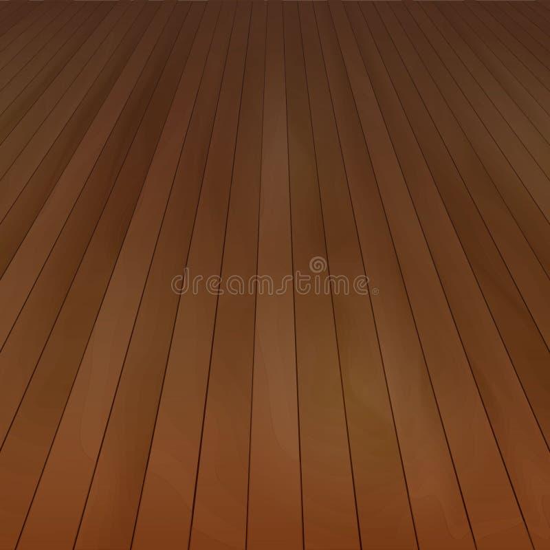 Ξύλινη άποψη προοπτικής πατωμάτων διανυσματική με την ξύλινη σύσταση στο σκοτεινό καφετί χρώμα που απομονώνεται Υπόβαθρο για ελεύθερη απεικόνιση δικαιώματος