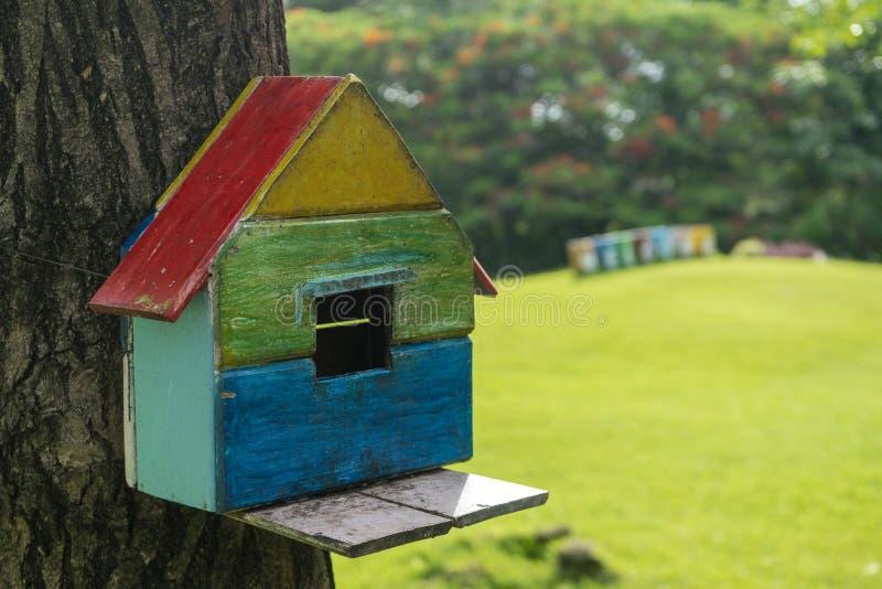 Ξύλινη ένωση birdhouse σε ένα υπόβαθρο δέντρων στο πάρκο στοκ φωτογραφίες με δικαίωμα ελεύθερης χρήσης
