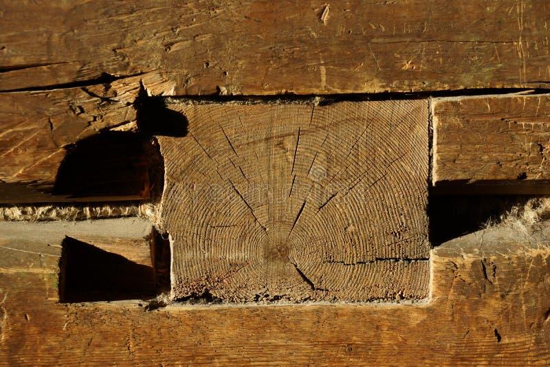 Ξύλινη ακτίνα σπίτι παλαιό Ξύλινες ράβδοι στοκ εικόνα