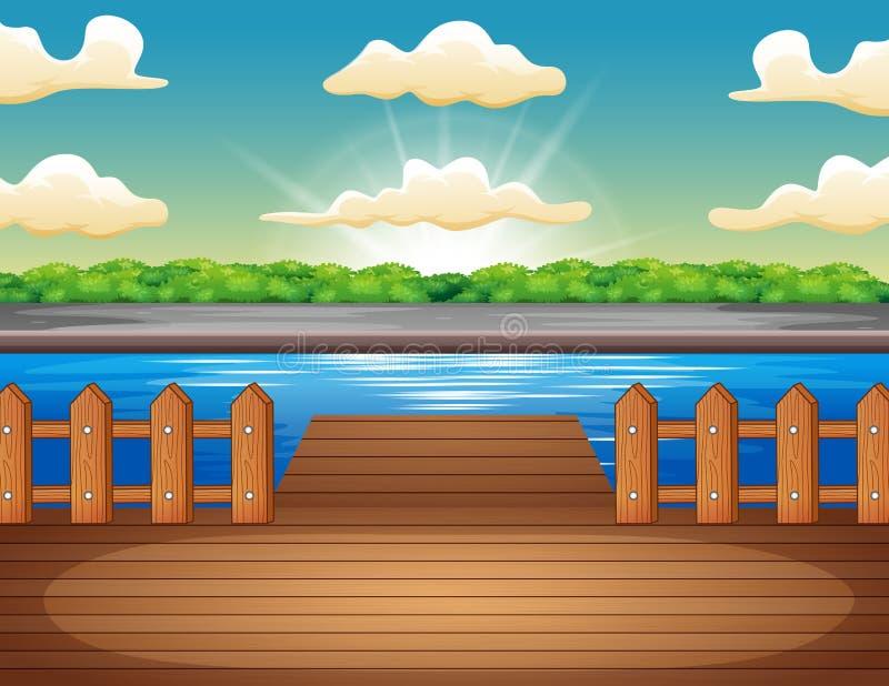 Ξύλινη αποβάθρα που αγνοεί τη λίμνη στην ανατολή διανυσματική απεικόνιση
